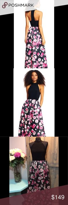 NWT! Adrianna Papell Floral NWT! Jersey knit top with high neckline and racerback. Floral print metallic skirt with pockets! Adrianna Papell Dresses Prom