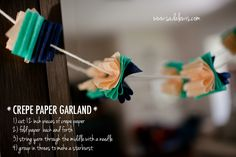DIY Crepe Paper Pom Pom Garland Diy garland Pom pom garland and