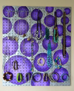 Jewelry Organizer Wall Display,  Jewelry Holder, Custom, Hand Painted, Purple. $126.00, via Etsy.https://www.etsy.com/listing/129405162/jewelry-organizer-wall-display-jewelry?ref=shop_home_active