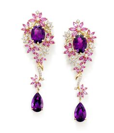 Earrings set with Pink Sapphires, Purple Amethysts and Diamonds from Ganjam's new Le Jardin collection.