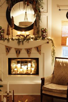 Love the idea of the mirror in the fireplace to reflect the light. Great bc we dont use ours for a fire.