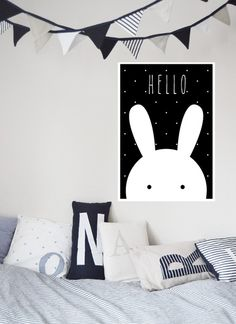 "Kunstdruck / Baby Print / Kids Print ""Hase"" von TypicalMe auf DaWanda.com Monochrome Nursery, White Nursery, Nursery Art, Nursery Modern, Kids Prints, Baby Prints, Old Baby Cribs, Happy New Home, Deco Kids"