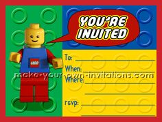 Free printable Lego Birthday Invites...plus a whole ton of other free printable invites