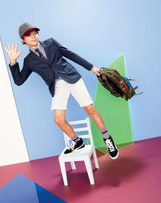 AUG '14 Style Guide: J.Crew boy's Ludlow jacket in Italian wool flannel, Stanton garment-dyed chino short, and Herschel Supply Co.® for Crewcuts Settlement backpack.