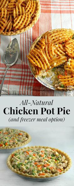 Mom's Chicken Pot Pie just got even better! This waffle fry topped All-Natural Chicken Pot Pie dinner recipe is sure to become a new family favorite. Freezer meal option included for busy parents! @alexiafoods AD #FarmToFlavor