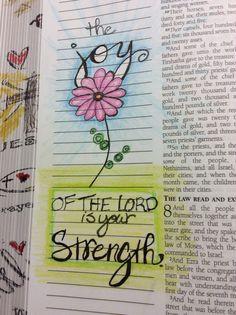 Nehemiah 8:10 Bible Art, Bible Verses, Scriptures, Bible Study Journal, Art Journaling, Journal Art, Psalm 13, Journal Inspiration, Journal Ideas