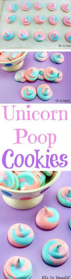 DIY dessert idea: Unicorn Poop Cookies for a unicorn party! You will be a superstar when you show up to the next birthday party, slumber party or anywhere else with these super fun unicorn poop cookie (Cool Desserts Unicorn) Unicorn Poop Cookies, Unicorn Foods, Unicorn Diys, Unicorn Cafe, Unicorn Birthday Parties, Cake Birthday, Birthday Ideas, 10th Birthday, Paris Birthday