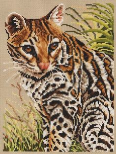For any wildlife lover, this Ocelot counted cross stitch kit from Jayne Netley Mayhew, is the cat's meow. The design measure Cross Stitch Bird, Cross Stitch Animals, Modern Cross Stitch, Counted Cross Stitch Patterns, Cross Stitch Charts, Cross Stitch Designs, Cross Stitch Embroidery, Dragon Silhouette, Embroidery Store