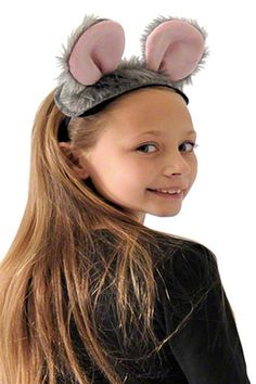 Fuzzy Gray MOUSE Rat COSTUME KIT EARS TAIL BOWTIE Halloween Party Dance Theater