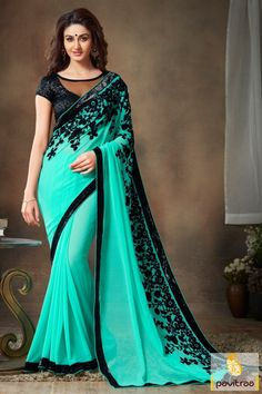 Festival Season Turquoise And Black Designer Saree Festival Special Offer Flat…