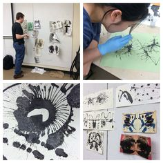 Experimenting with ink blots can be a great way to stimulate more expressive mark-making in the foundations classroom. Bleach can be used as well with proper ventilation.
