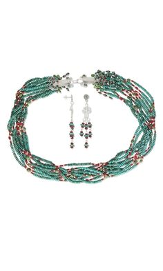 Multi-Strand Necklace and Earring Set with Coral and Turquoise Gemstone Beads and Wirework