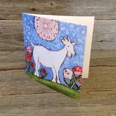 Carte de souhait carré • La chèvre blanche - reproductions des toiles d'isabelle Malo Isabelle, Reproduction, Canvases, Paper Mill