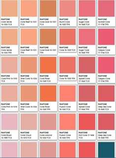 "Pantone Farben ""Coral"" House Color Palettes, Pantone Colour Palettes, Pantone Color, Coral Colour Palette, Colour Board, Color Swatches, Color Names, Color Of The Year, Color Theory"