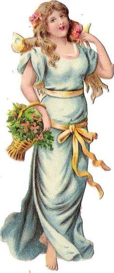 Oblaten Glanzbild scrap die cut chromo Blumen Elfe Girlande garland flower elf
