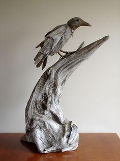 "Driftwood sculpture Vincent Richel Raven  2009  Driftwood and Ebony  36"" x 24"""