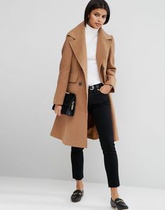 ASOS Wool Blend Skater Coat with Raw Edges - Stone