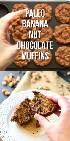 Rich, soft, and moist Paleo Banana Nut Chocolate Muffins - they are gluten free, grain free, dairy free, and Paleo. So delicious! #glutenfree #grainfree #sweets #paleo #whole30 #healthy #muffins