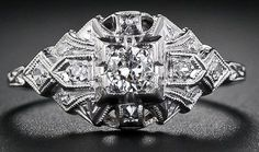 Petite Art Deco diamond ring. Via Diamonds in the Library.