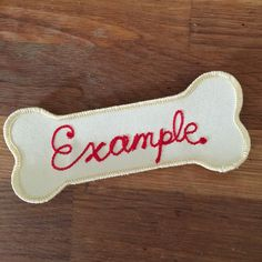 """Custom #chainstitch dog name patches are available at worldfamousoriginal.com This one is for my friends dog """"Example"""" #patchgame by worldfamousoriginal"""
