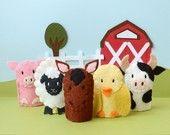Friendly Farm Animals - Felt Finger Puppet Set (5) - In Stock