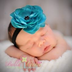 Teal Flower on Black Stretch headband