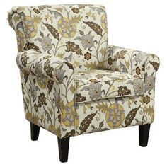 Features:  -Legs material: Solid wood.  -Wrapped in a yellow and brown floral pattern.  -Legs color: Cappuccino.  -Newbury collection.  -Product Type: Arm chair.  -Chair does have a touch of taupe and