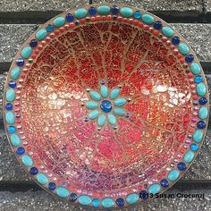 "Red Bowl -17"" tempered glass mosaic bowl - Susan Crocenzi"