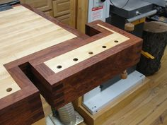 "My ultimate workbench-- finally finished!  The bench has a tail vise, a 24"" face vise, and a patternmaker's vise. Overall size is 36"" x 92"". The top is 4"" thick laminated hard maple with a 5"" bubinga..."