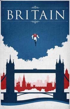 Justin Van, Britain,  Comic Book Travel Poster, 2046 Design ©