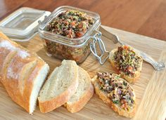 Three olive tapenade (I may leave out the red pepper.) I could eat this with a spoon, no problem.