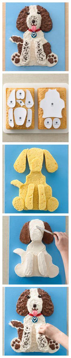 Adorable et super facile à réaliser avec ce patron, voici un gâteau qui a du chien ! :D #kiri #recette #Kids #food #fun #cute #dog #art #food #enfant #miam #cake