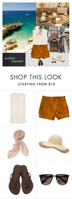 """""""sicilian summer! (please read! ❤️)"""" by emc1397 ❤ liked on Polyvore featuring Oris, Vilshenko, A.L.C., Stella & Dot, Witchery, Havaianas, Summer, shorts, beach and sicily"""