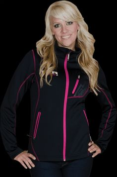 Black Jacket with Pink Detail. Snowmobile Clothing, Cold Weather Gear, Tough Girl, Winter Gear, Snow Suit, Country Outfits, Winter Outfits, Winter Clothes, Pink Girl