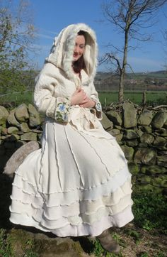 Upcycled Ivory Sweatercoat. Wedding. Soft recycled wool knitwear, maribou feather trim, embroidered sleeves Large size OOAK Handmade in UK.