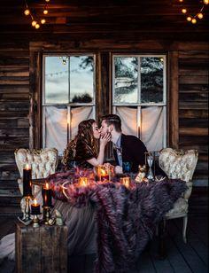 Rustic Winter Elopement Inspiration at Terrain - Green Wedding Shoes - Vivid Winter Elopement Inspiration - Nordic Wedding, Viking Wedding, Cabin Wedding, Wedding Fur, Elope Wedding, Rustic Wedding, Elopement Wedding, Dream Wedding, Cozy Wedding