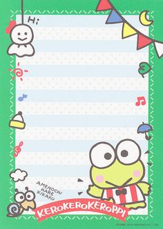 Keroppi Wallpaper, Kawaii Wallpaper, Hello Kitty Characters, Sanrio Characters, Memo Notepad, Unicorn Painting, Note Doodles, Printable Scrapbook Paper, Cute Letters