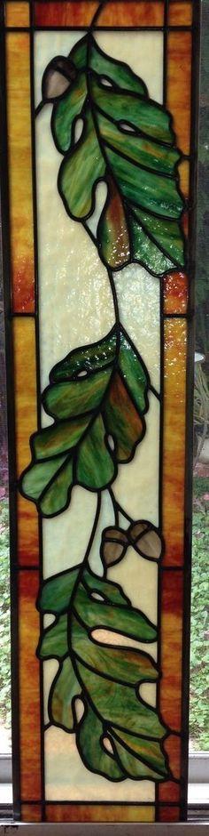 Custom Made Oak Leaves 16 x 55  Made by Mary Ann Celinder of Celinder's Glass Design Huntington Beach, CA