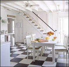 Black & white floor tiles