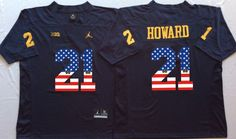 f1c0795dc Michigan Wolverines 21 Desmond Howard Navy White USA Flag College Jersey
