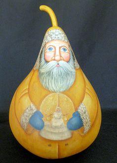 Mustard Santa Gourd with Snowglobe