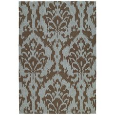 This Seaside chocolate ikat area rug is luxurious and durably made to be a wonderful addition to anywhere around your home. This non-skid-backed indoor/outdoor rug is UV treated to prevent excessive fading and is mildew resistant.