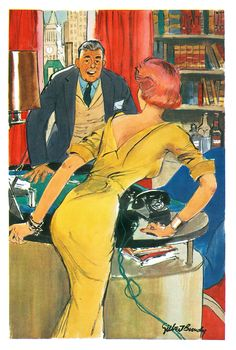 """Cartoon by Gilbert Bundy for Esquire magazine, August 1954. """"I feel it only fair…"""