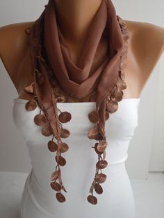 Chocolate  Shawl / Scarf  Headband  Cowl with Lace Edge by DIDUCI, $14.50