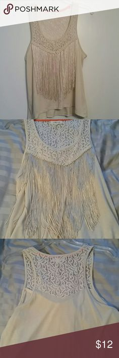 Lace and fringed tank Previously worn and loved and in good condition.  I just don't wear this anymore and would love for someone else to enjoy it.  All light cream colored machine washable. Taylor & Sage Tops Tank Tops