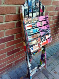 Decoupage Wooden Garden Chairs-Fashion magazines-upcycled chairs-revamped chairs-folding chairs.