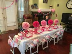 An adorable table set for little Hello Kitty Fans at this 3rd Birthday Party! See more party ideas at CatchMyParty.com