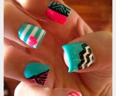 Her nails came out awesome. That was the color combination for my fifteenth birthday party :)