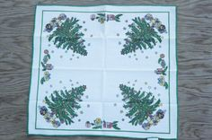 Vintage 80s-90s Christmas Tree Napkin by SycamoreVintage on Etsy