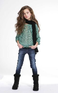 rocker chic style clothing for kids - green blouse, jeans and boots tween clothing